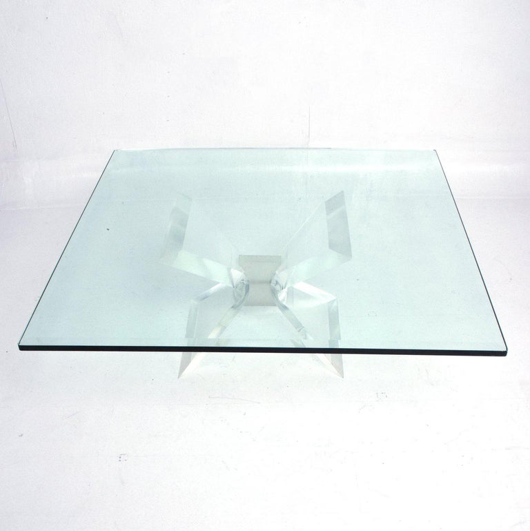 Leon Frost Lucite and Glass Coffee Table For Sale 1