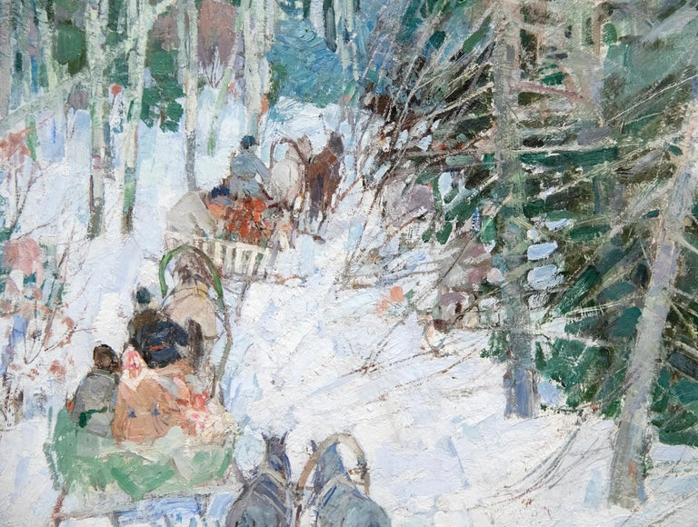 Siberian Sleighriders - Gray Landscape Painting by Leon Gaspard