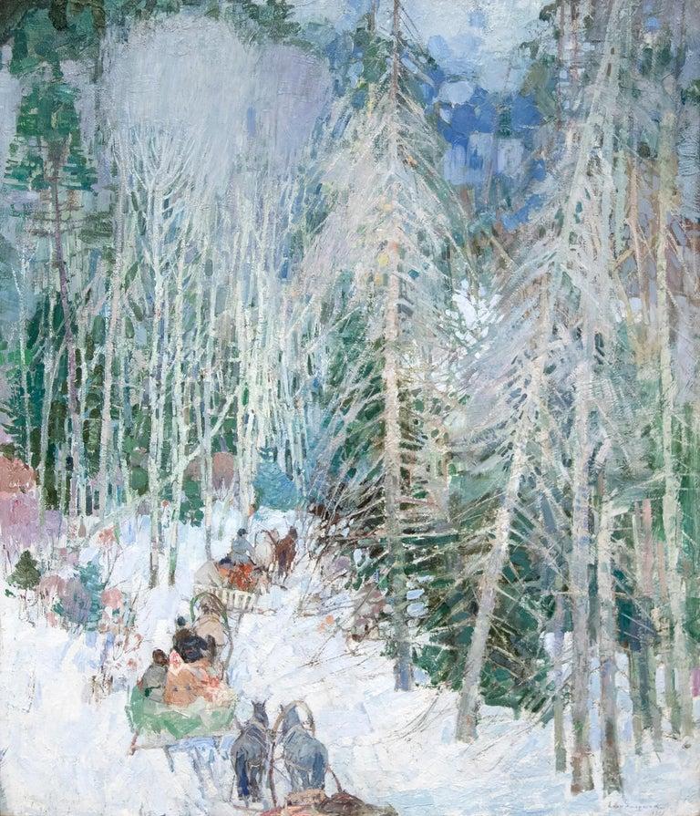 Leon Gaspard Landscape Painting - Siberian Sleighriders