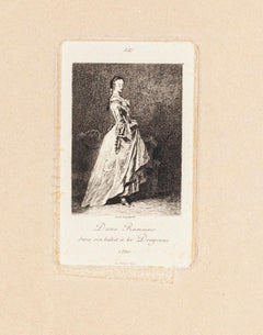 Dame Romaine - Original Etching and Drypoint by Lèon Gaucherel - 1862