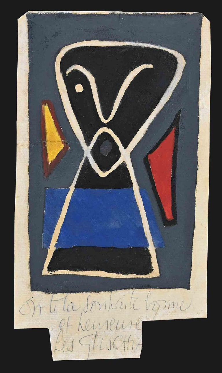 Black one-eyed man is an original painting in tempera on paper realized by Léon Gischia in the 1960s.  Hand-signed at the bottom in pen.  Good conditions.  The artwork represents a black one-eyed figure in a semi-abstract style with the three main