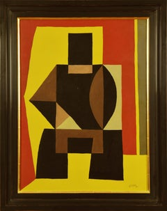 Composition by LÉON GISCHIA - Abstract geometric painting, Cubist oil on canvas