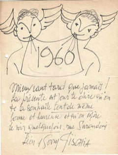 Happy New Year - Original Drawing by L. Gischia - 1960