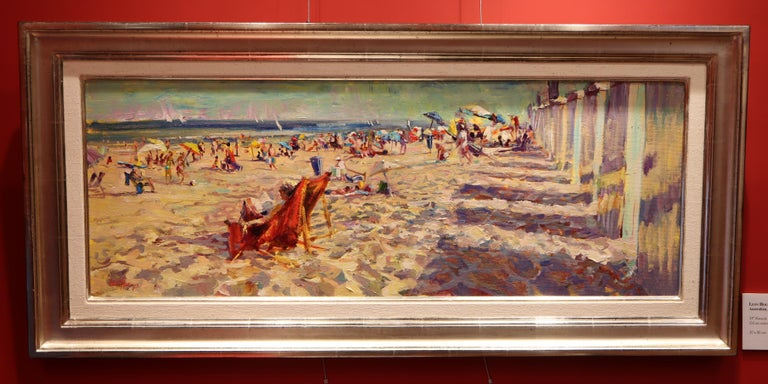 Oiled  Impressionistic Beach Scene by Leon Holmes For Sale