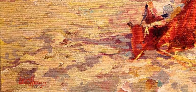 Contemporary  Impressionistic Beach Scene by Leon Holmes For Sale