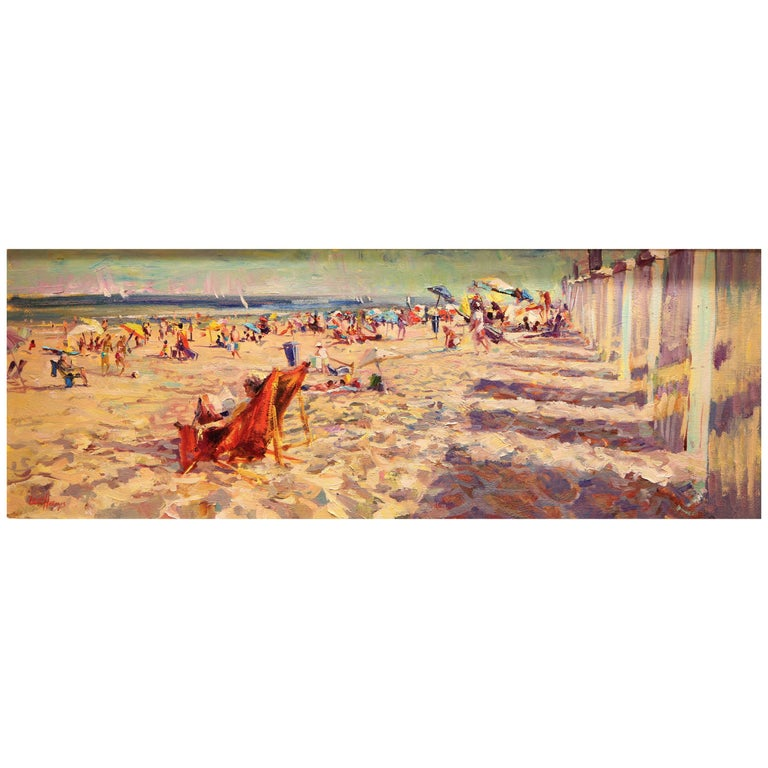 Impressionistic Beach Scene by Leon Holmes For Sale