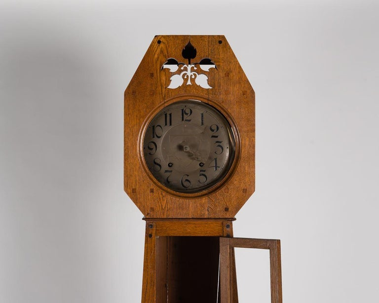 Art Nouveau Léon Jallot, Oak Grandfather Clock, France, 1910 For Sale