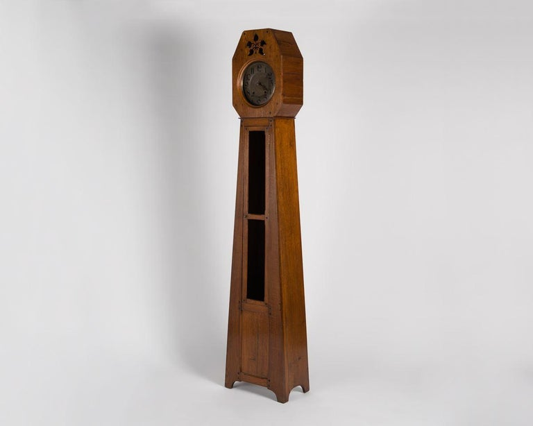 French Léon Jallot, Oak Grandfather Clock, France, 1910 For Sale