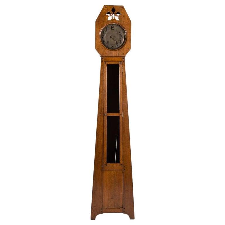 Léon Jallot, Oak Grandfather Clock, France, 1910 For Sale
