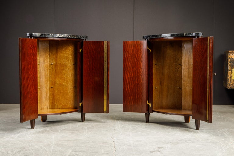 Leon Jallot Pair of Inlaid Amaranth and Nero Portoro Encoignures, c 1925, Signed For Sale 12