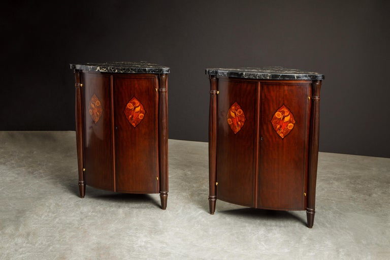Leon Jallot Pair of Inlaid Amaranth and Nero Portoro Encoignures, c 1925, Signed In Excellent Condition For Sale In Los Angeles, CA