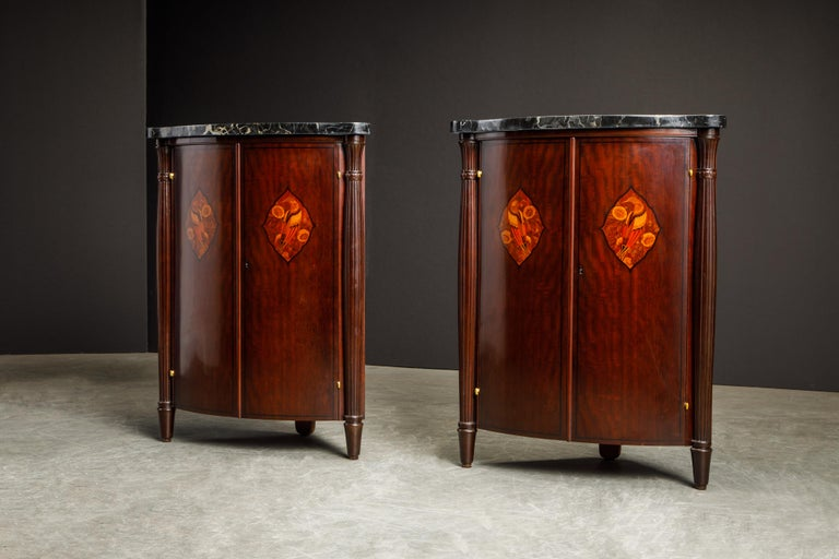 Early 20th Century Leon Jallot Pair of Inlaid Amaranth and Nero Portoro Encoignures, c 1925, Signed For Sale