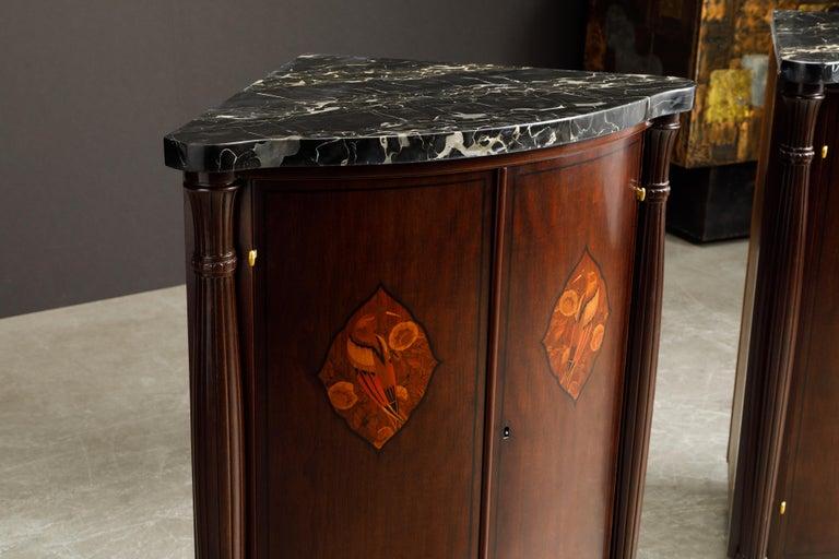 Leon Jallot Pair of Inlaid Amaranth and Nero Portoro Encoignures, c 1925, Signed For Sale 1