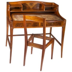 Leon Jallot Sculpted Walnut Desk and Chair