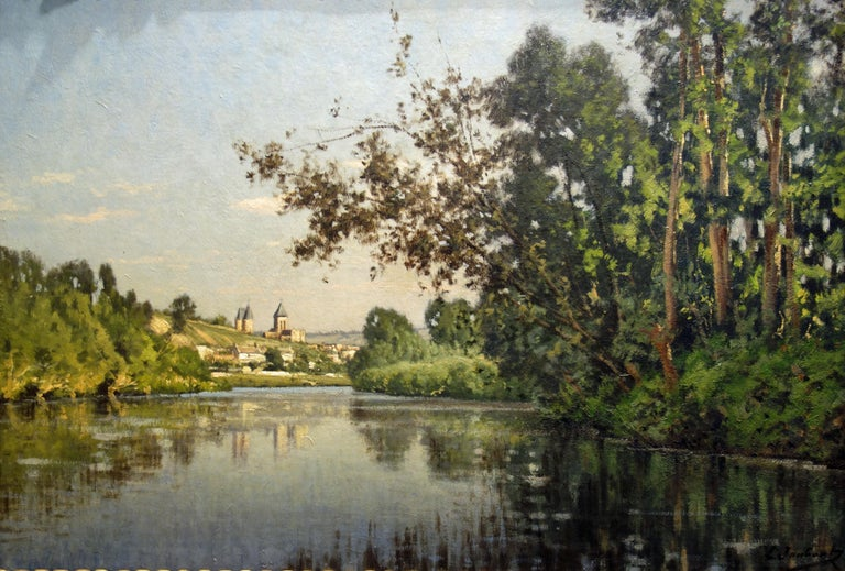 Leon Joubert Landscape Painting - River landscape depicting the Church in Vetheuil on the Seine