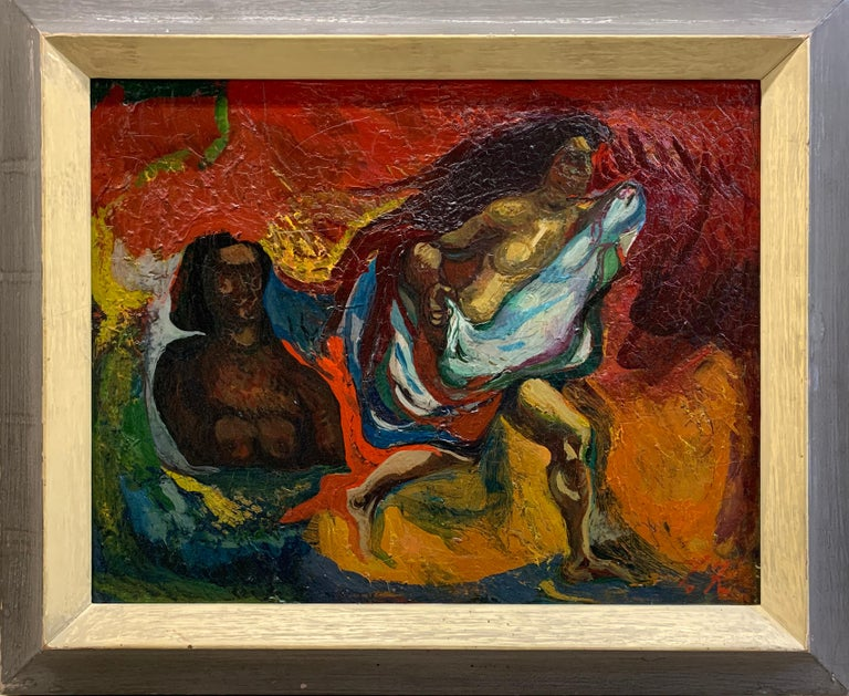 Leon Kelly Nude Painting - Bathers, Modernist Nudes, Oil on Canvas, Signed and Titled