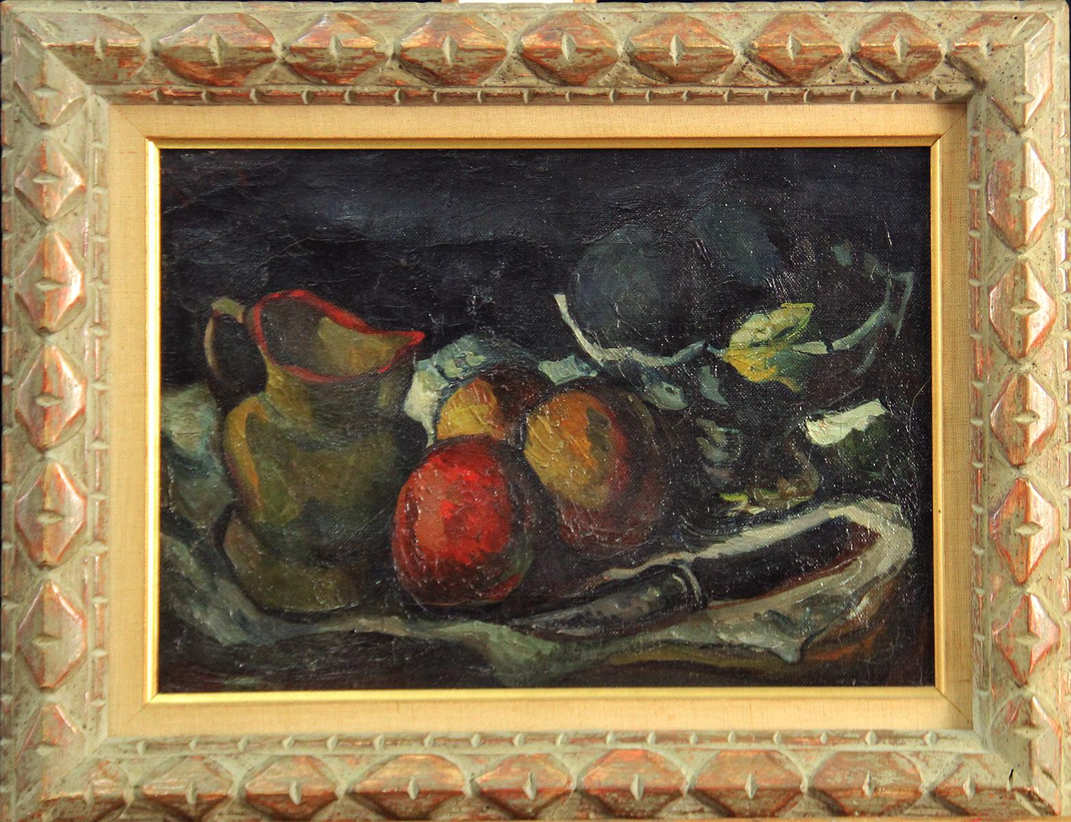 Fruit and Paring Knife, Modernist Still Life, Oil on Canvas, 1923, Framed