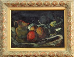Fruit and Paring Knife, Modernist Still Life, Oil on Canvas, 1923, Framed