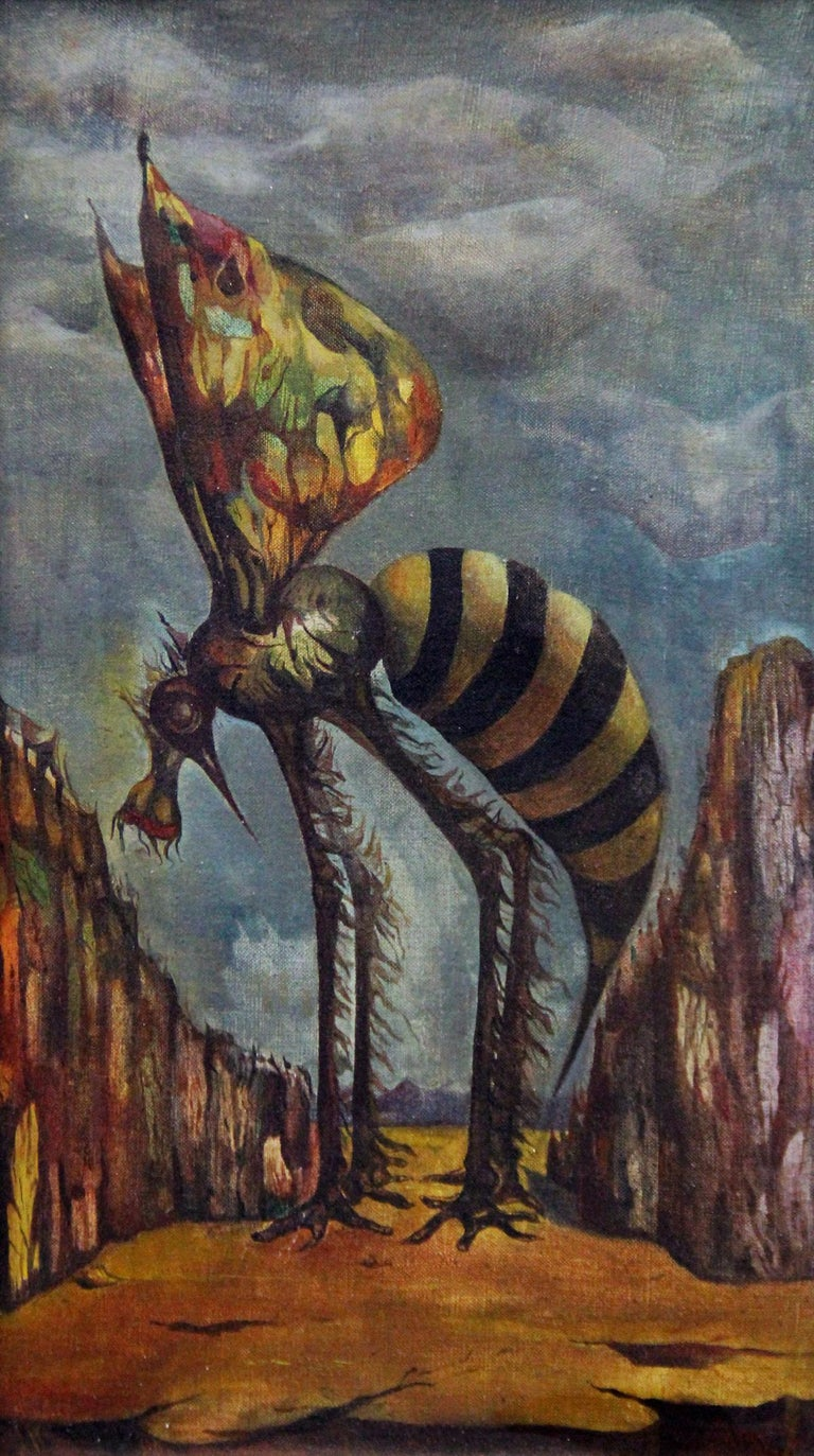 Leon Kelly, Mosquito on Orange Mountain, Oil on Canvas, 1943 For Sale 1