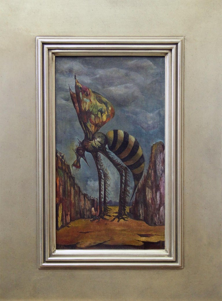 """""""Mosquito on Orange Mountain"""" by Leon Kelly is a 14"""" x 8"""" oil on canvas surrealist painting from 1943. The painting came from the Richard Feigan Gallery and is signed """"Leon Kelly"""" in the lower right. It has also been signed, titled, and dated on"""