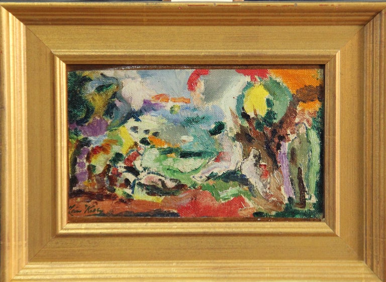 Modernist Abstract Landscape, Oil on Canvas, 1923, Signed and Dated, Framed - Painting by Leon Kelly