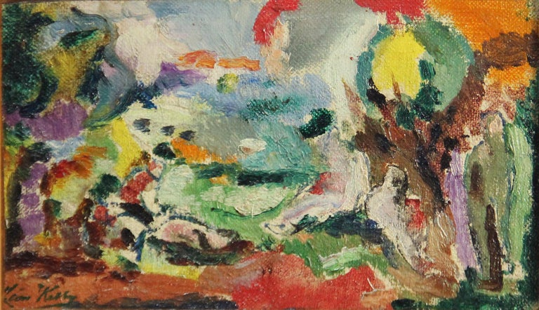 Leon Kelly Landscape Painting - Modernist Abstract Landscape, Oil on Canvas, 1923, Signed and Dated, Framed