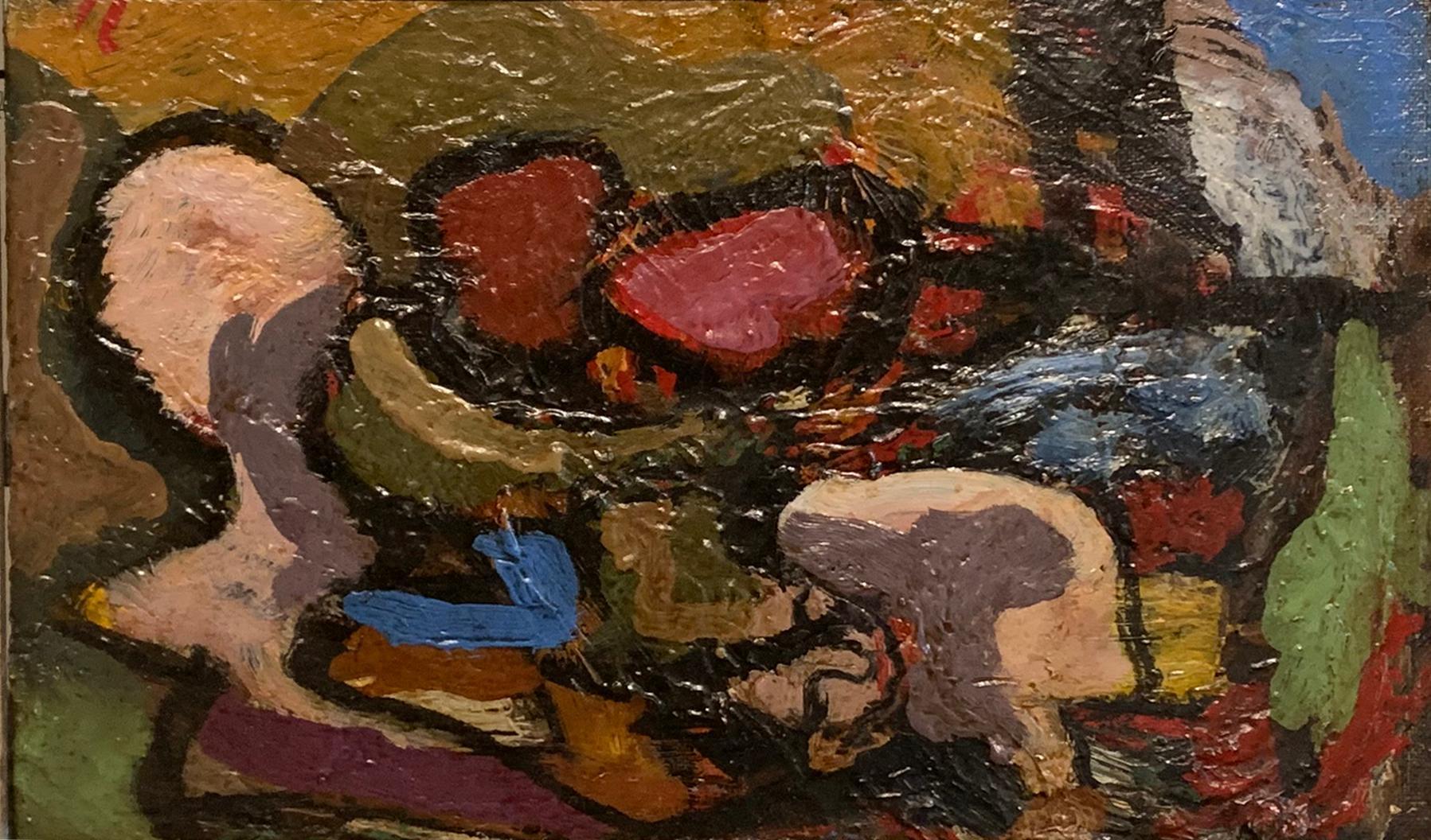 Modernist Still Life, Oil on Board, Monogrammed, Abstract Art