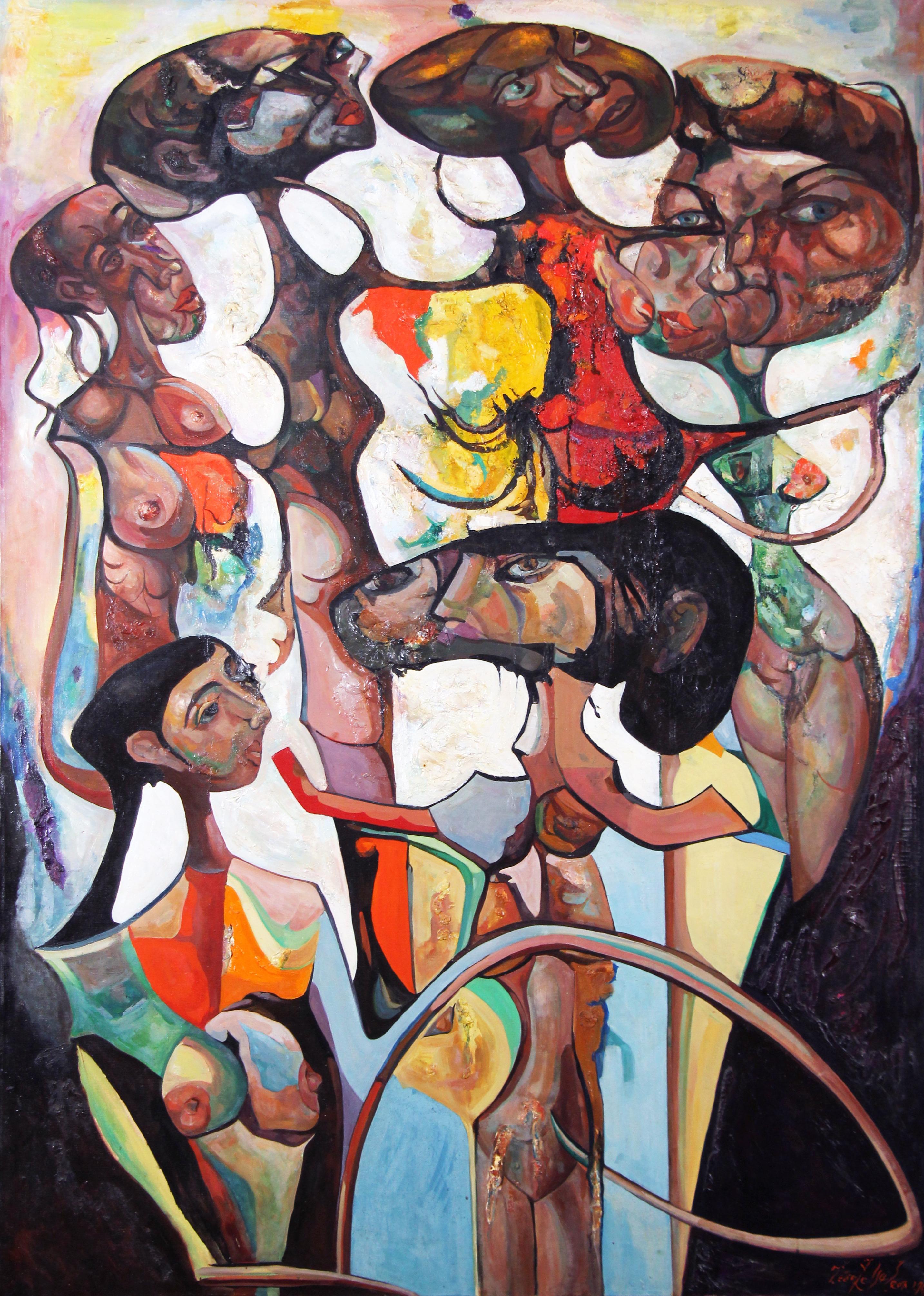 Secundo Congreso Feminino, Large Canvas Surrealist Female Group Portrait, 1969