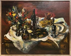 Tabletop Still Life, Modernist Still Life with Food, Flowers, and Wine, Signed