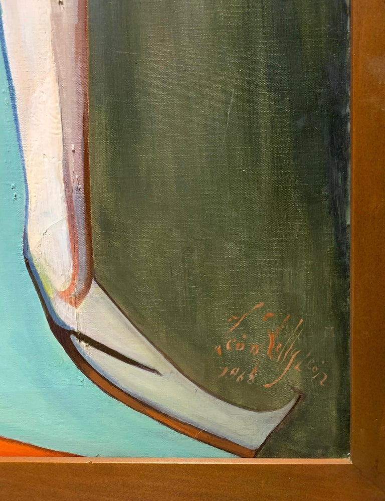 Tenderness of Maternity, Large Canvas Surrealist Portrait of a Couple, 1968 - Painting by Leon Kelly