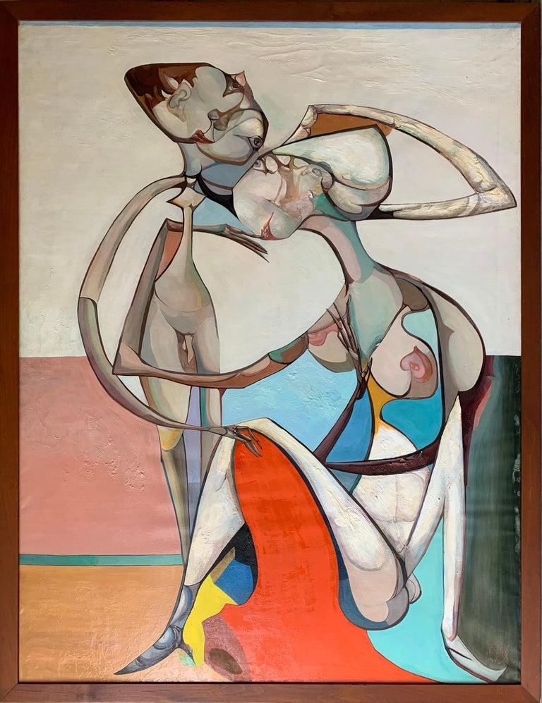 Leon Kelly Portrait Painting - Tenderness of Maternity, Large Canvas Surrealist Portrait of a Couple, 1968