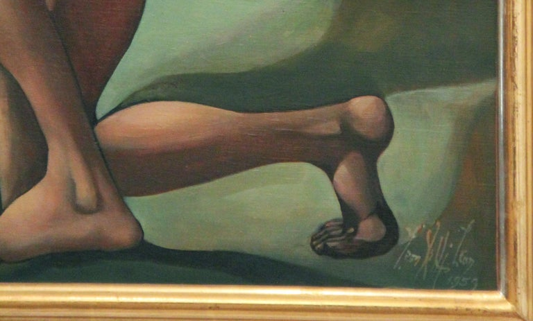 Venus Retrieved from the Hands of Death, Surrealist, Nudes, 1959, Oil on Canvas For Sale 1