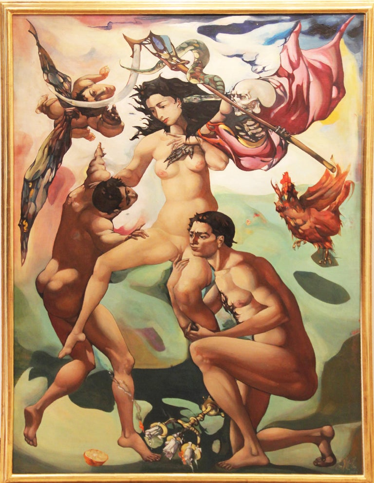 Leon Kelly Nude Painting - Venus Retrieved from the Hands of Death, Surrealist, Nudes, 1959, Oil on Canvas