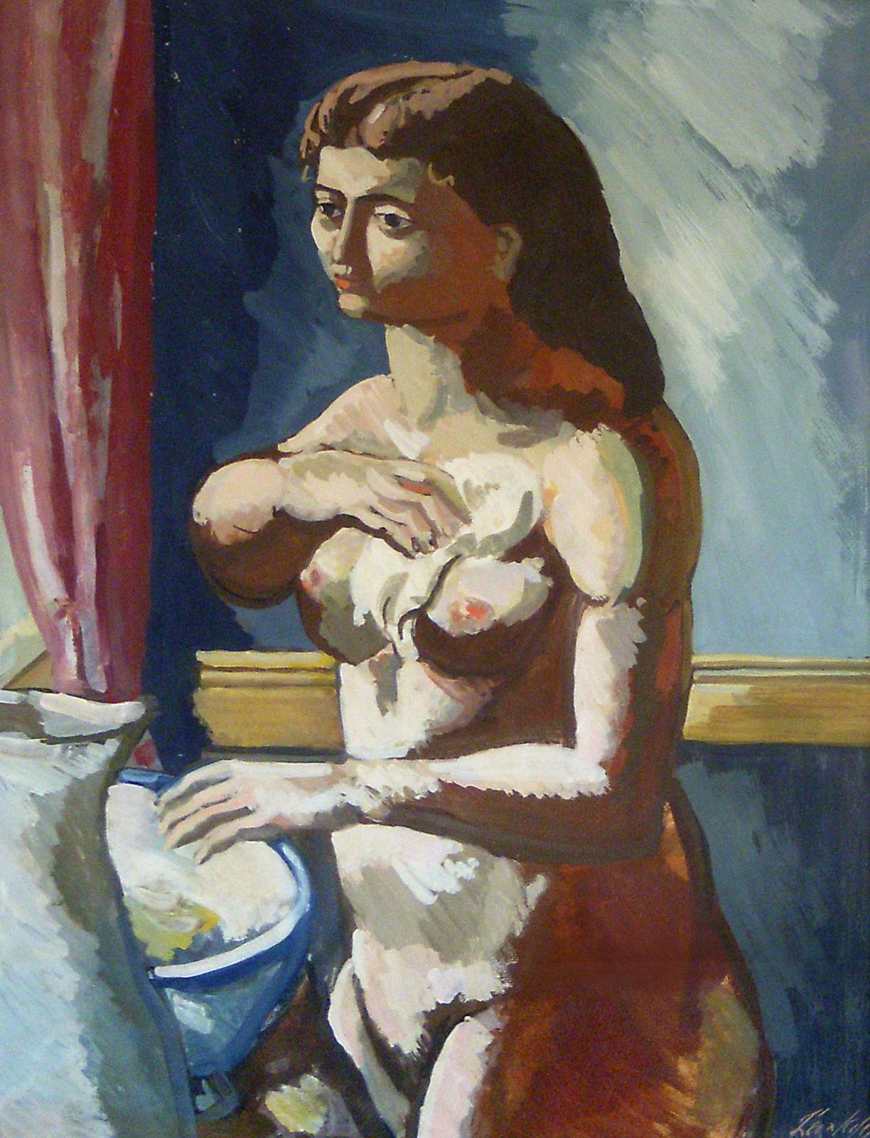 Woman at Basin, Picasso Style Portrait of a Female Nude, American Modernist