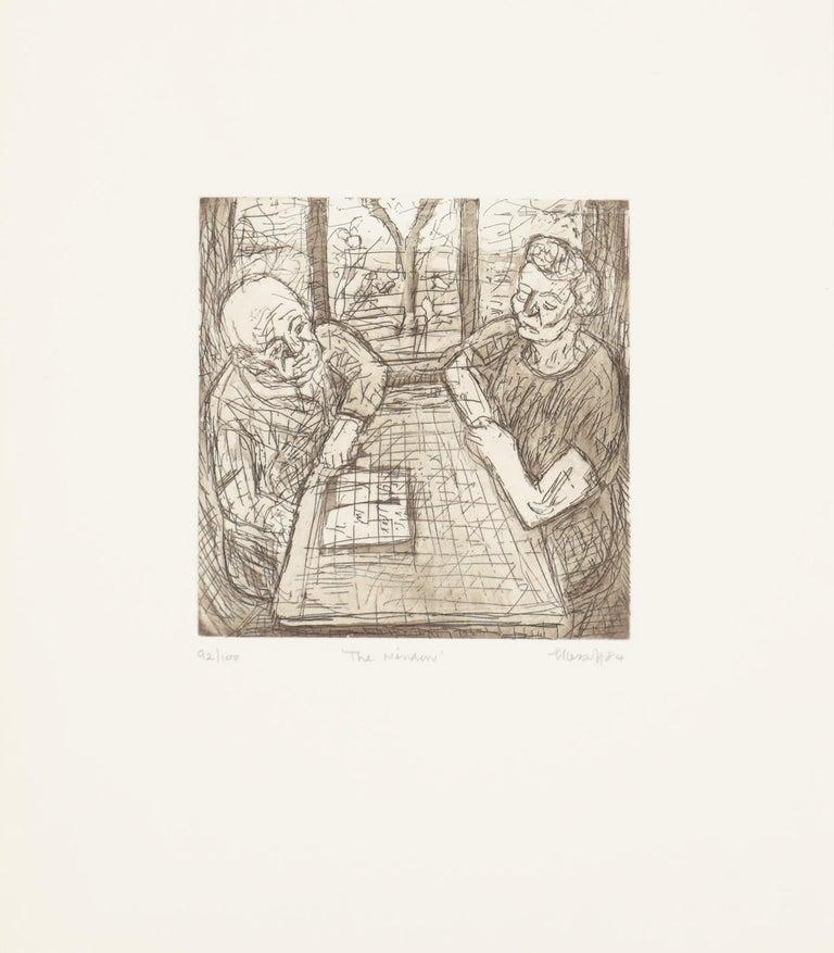 Leon Kossoff Figurative Print - The Window