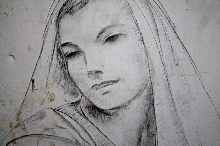 Leon Kroll Charcoal Study for Central Panel of Worcester Mural In Distressed Condition For Sale In Sharon, CT