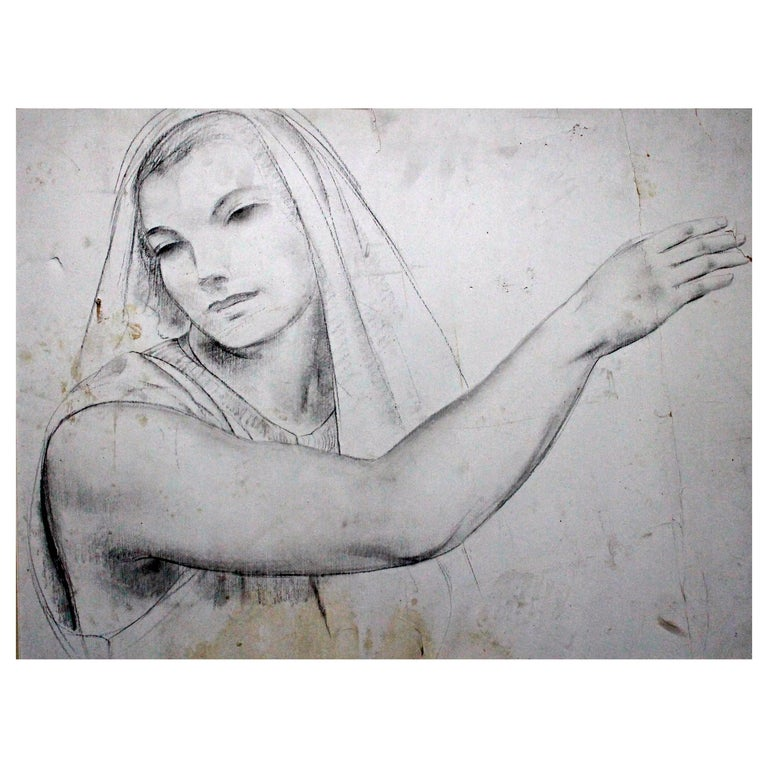 Leon Kroll Charcoal Study for Central Panel of Worcester Mural For Sale
