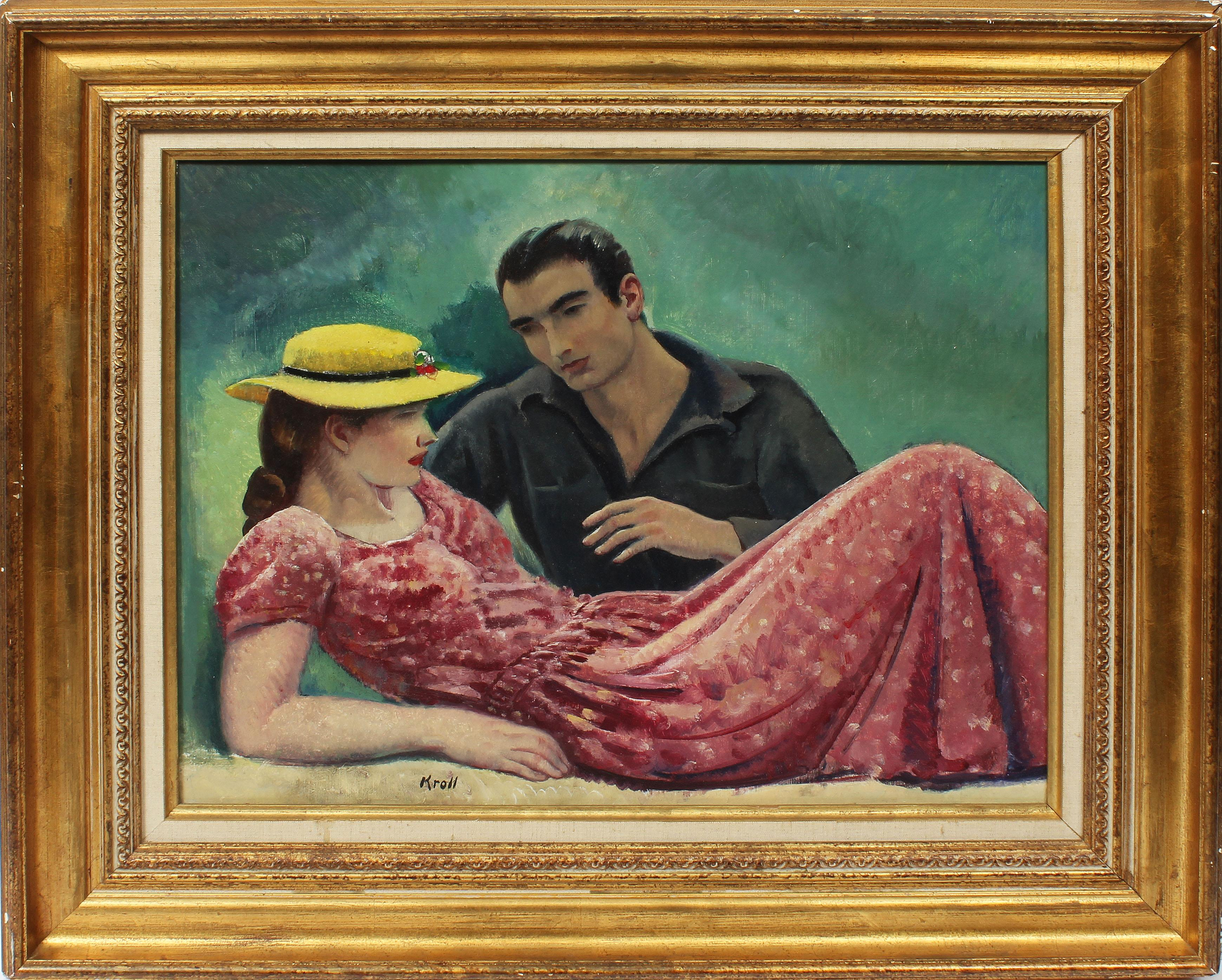 Antique American WPA Social Realism Portrait Return From War Signed Oil Painting