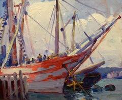 """Gloucester Ships,"" Leon Kroll, Ashcan, American Impressionist harbor scene, oil"