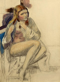 """Seated Nude,"" Leon Kroll, oil painting, figurative art, modernism"