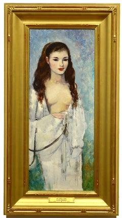 The White Robe, Impressionist oil painting, Leon Kroll, semi-nude figure