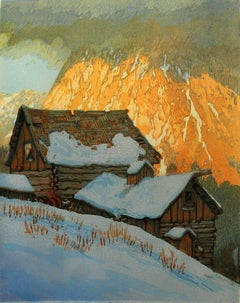 Aglow, 14/16 (luminous snow, red-rock peak, low clouds, white, browns, grey)
