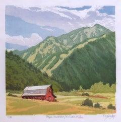 Aspen Mountain from McLain Flats 3/18 (red barn, Aspen mtn ski runs, blue sky)