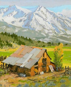 Crisp Morning (snowy mountainscape, weathered barn, Fall)