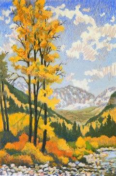 Golden Sentinel (aspen trees, autumn foliage, mountains, yellow)