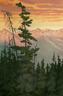 Gore Range Sunrise 9/22 (salmon sky, evergreens, Gore Mountain Range)