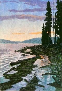 Morning Reflections 22/22 (sunrise, lake, reflections, pine trees)