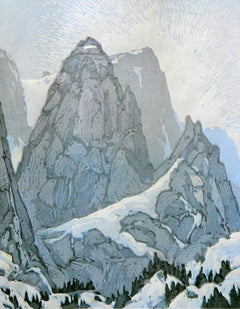 Peak Study 8/15 (mountains, forested ridges, icy blue)