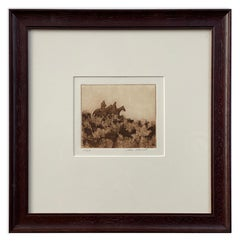 Through the Sage (cowboys, sage brush, antiqued finish, etching with aquatint)