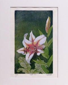 Tiger Lily 2/15 (woodblock print, Japanese paper, mica powder, magenta, green)